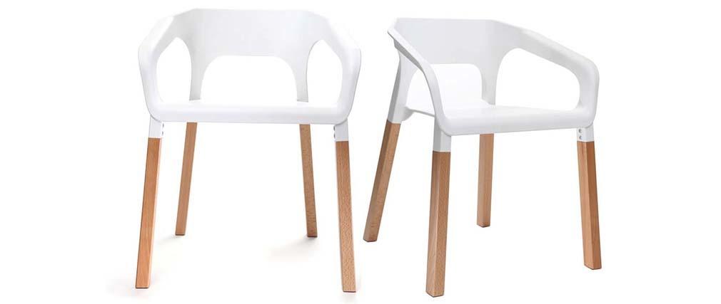 Stühle weiß  2er-Set skandinavische Design-Stühle Weiß HELIA - Miliboo