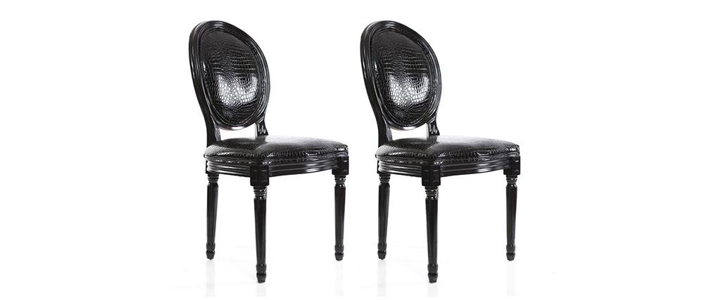 2er-Set Stühle Barock Ludwig XVI Schwarz MEDAILLON
