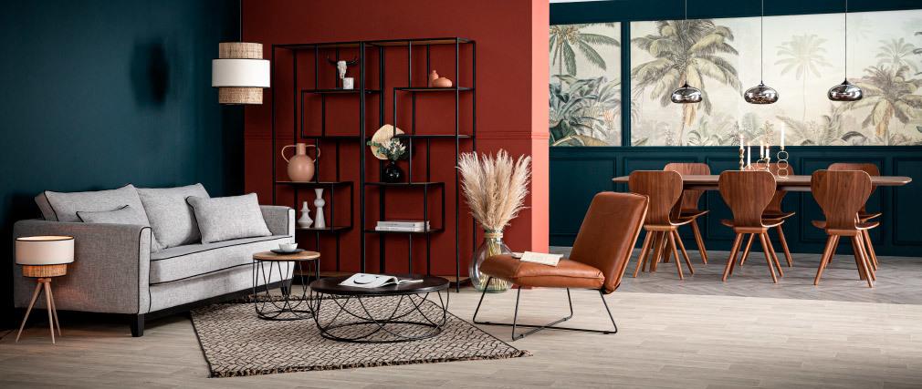 2er-Set Stühle Skandinavien-Stil aus natürlichem Nussbaum NORDECO