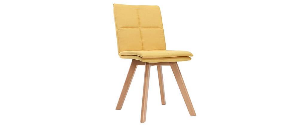 2er-Set Stühle skandinavisch gelber Stoff mit hellen Holzbeinen THEA