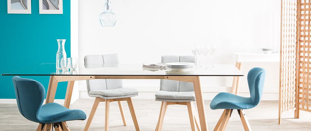 2er-Set Stühle skandinavisch Naturfarben Stoff mit hellen Holzbeinen THEA