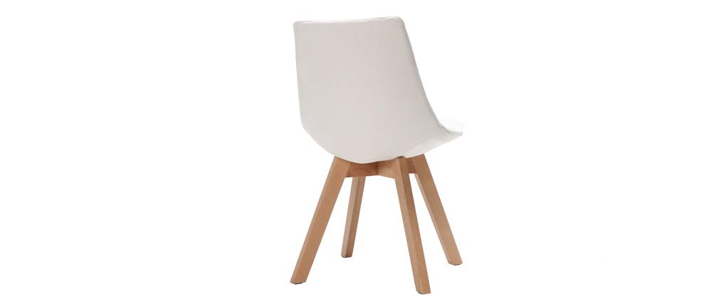 2er-Set Stühle skandinavisches Design Holz und Stoff Altweiß MATILDE