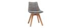 2er-Set Stühle skandinavisches Design Holz und Stoff Dunkelgrau MATILDE
