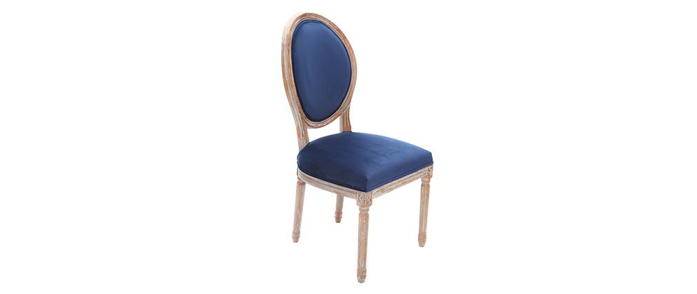 2er Set Stühle Velours Mitternachtsblau Beine Aus Hellem