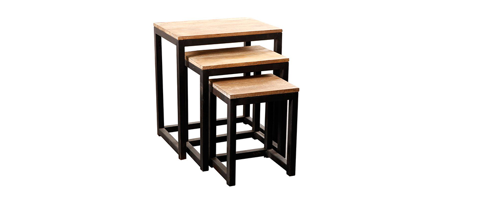 3 industrielle Satztische FACTORY Metall und Holz