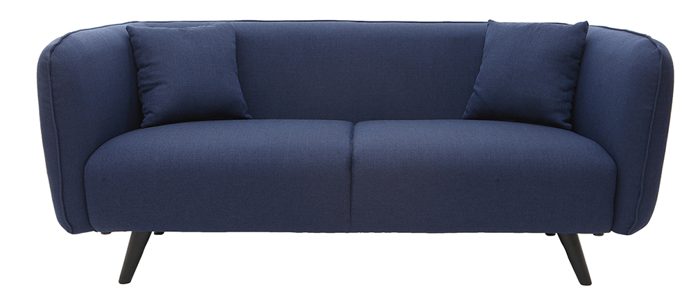 3-Sitzer-Design-Sofa MOONLIGHT aus dunkelblauem Stoff