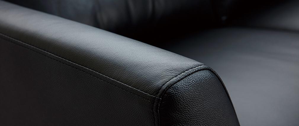 3-Sitzer schwarzes Ledersofa JOPLIN - Büffelleder