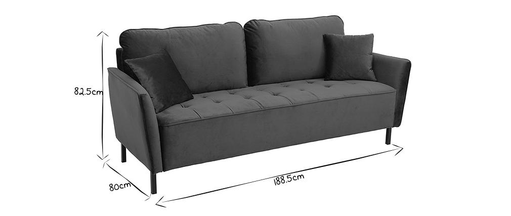 3-Sitzer-Sofa aus blauem Samt BEKA