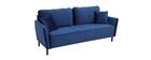 3-Sitzer-Sofa aus blauem Velours BEKA