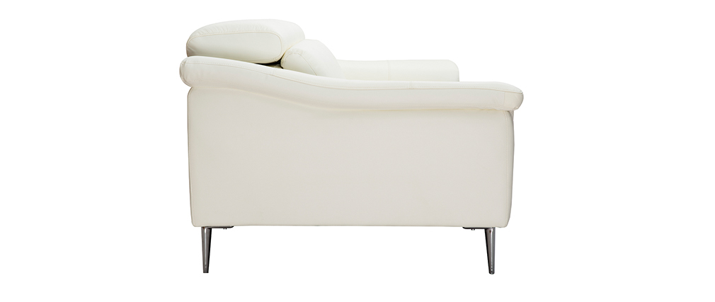 3-Sitzer weißes Ledersofa mit verstellbaren Kopfstützen ROMEO - Büffelleder