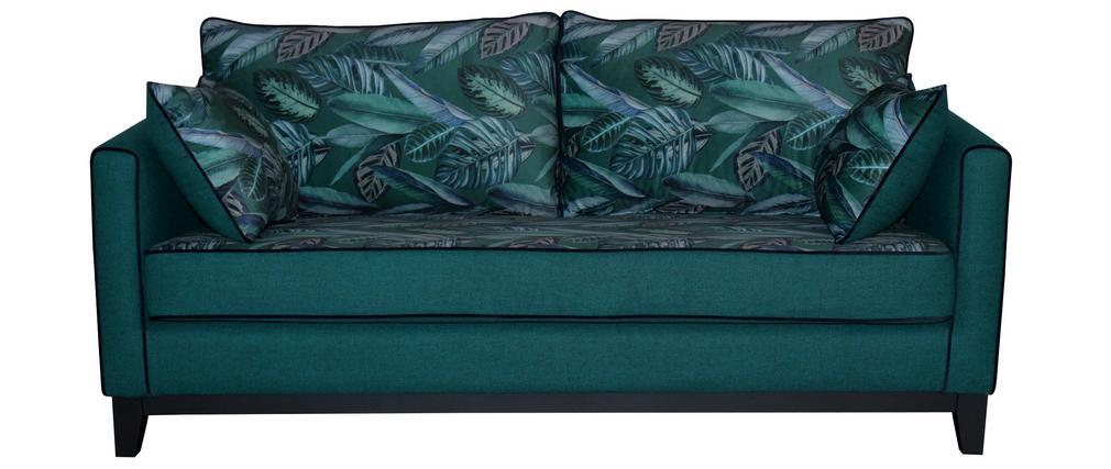3-Sitzer-Wende-Sofa aus pfauenblauem, bedrucktem Pflanzenmusterstoff HARRISON - Miliboo & Stéphane Plaza