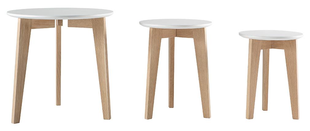 3er-Set Design-Beistelltische lackiert und Holz LARGO