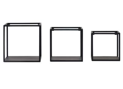 3er-Set industrieller quadratischer Wandregale KARL schwarzes Metall