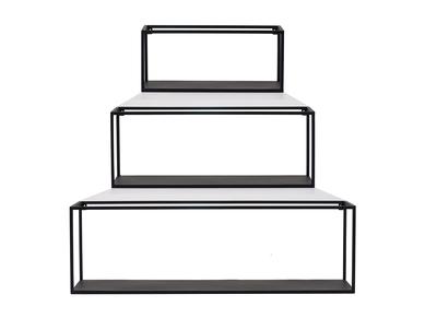 3er-Set industrieller rechteckiger Wandregale KARL schwarzes Metall