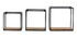 3er-Set quadratischer Wandregale YPSTER schwarzes Metall und Mangoholz