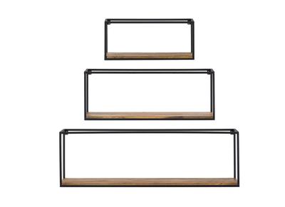 3er-Set rechteckiger Wandregale YPSTER schwarzes Metall und Mangoholz