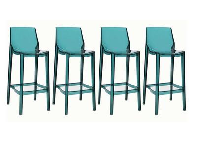 4er-Set Design-Barhocker durchsichtig Blau YLAK