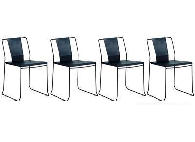 4er Set Design Gartenstühle Metall Schwarz TENERIFE