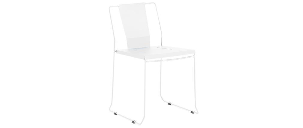 4er-Set Design-Gartenstühle Metall Weiß TENERIFE - Miliboo