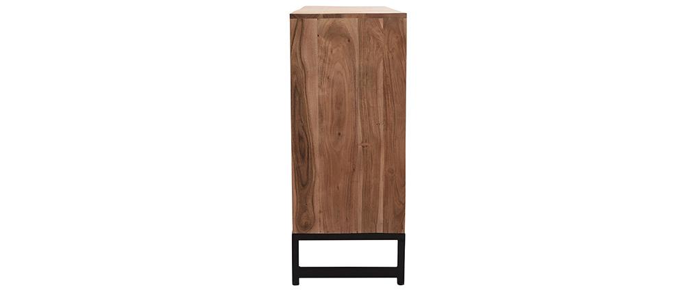 Anrichte 4 Türen aus Akazienholz und schwarzem Metall STICK