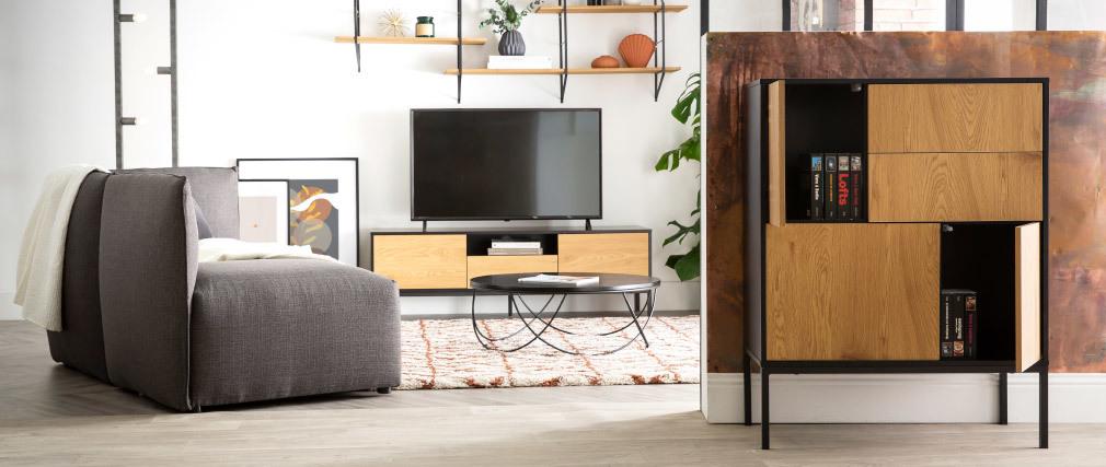 Anrichte im Industrial Style mit 5 Türen Metall und Holz TRESCA