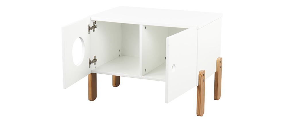 Aufbewahrungsmöbel in Holz und Weiß TIMEHLO