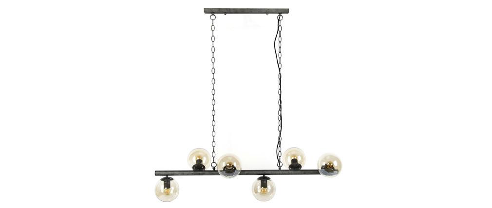 Aufhängung im Industrial Style 6 Lampen aus Altmetall BLOW