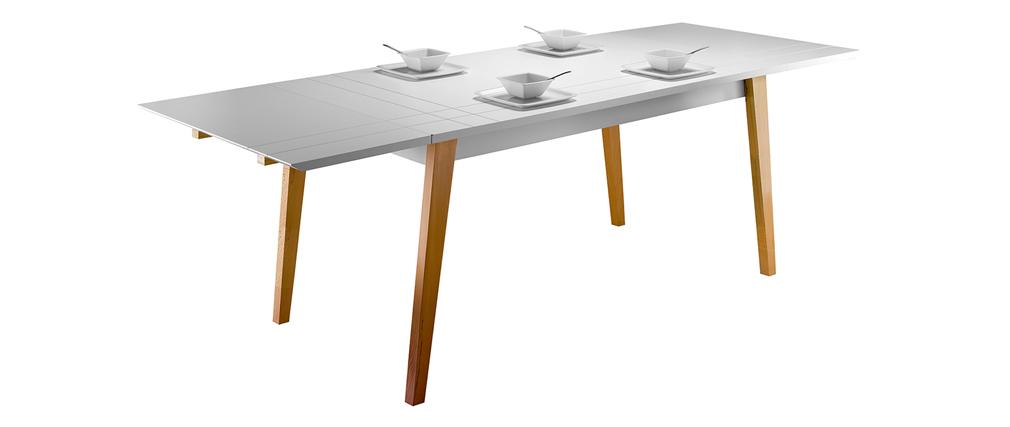 Ausziehbarer Design-Esstisch Mattweiß lackiert und Holz L160-250 ADORNA