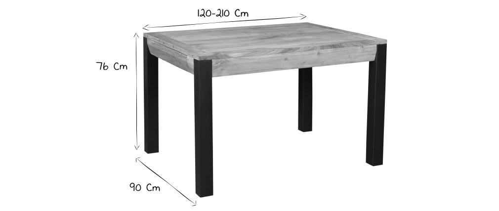 Ausziehbarer Esstisch aus massivem Akazienholz und schwarzem Metall L120-210 cm TRAP