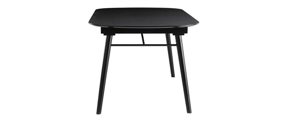 Ausziehbarer Esstisch aus schwarzem Holz L150-180 cm SHELDON