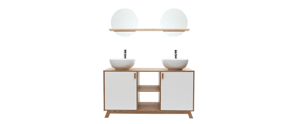 Badezimmermöbel: 2 Waschbecken 2 Türen helle Eiche und weiß TOTEM