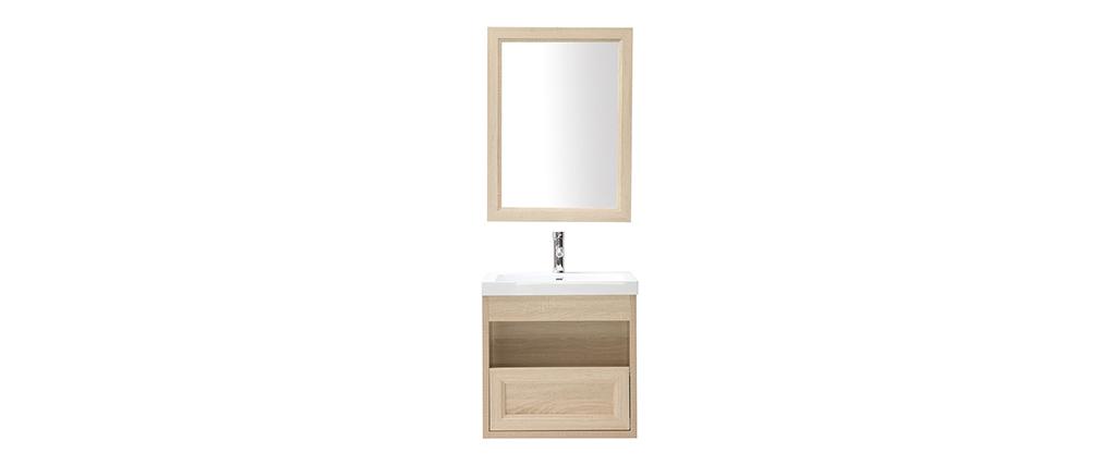 Badezimmermöbel hängend mit Waschbecken, Spiegel und Stauraum Holz RIVER