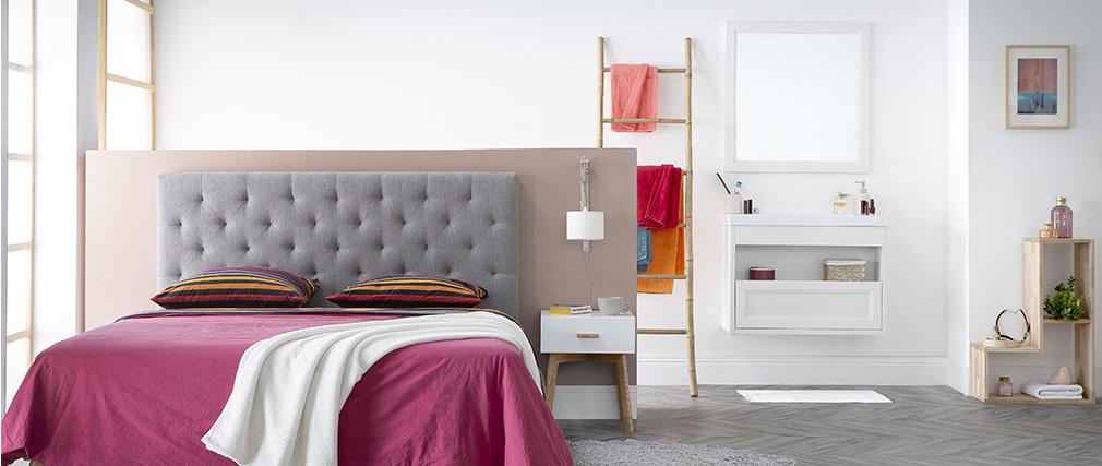 Badezimmermöbel hängend mit Waschbecken, Spiegel und Stauraum Weiß RIVER