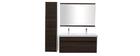 Badezimmermöbel mit Doppel-Waschbecken, Spiegel und Ablageflächen Weiß und dunkles Holz GANFO