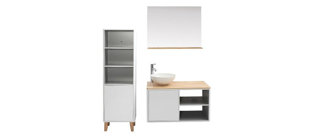 Badezimmermöbel mit Säule und Spiegel MDF Weiß und Holz (ohne Waschbecken) LAÏTA