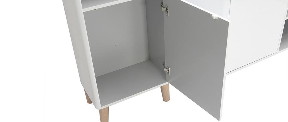 Badezimmermöbel mit Säule, Waschbecken und Spiegel MDF Weiß und Holz LAÏTA