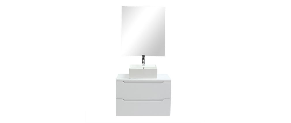 Badezimmermöbel mit Spiegel und Ablageflächen Weiß (ohne Waschbecken) LOTA