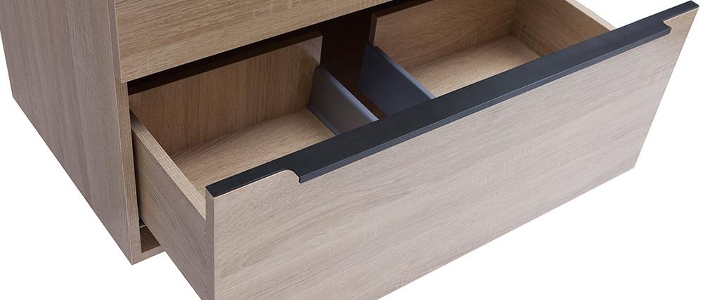 Badezimmermöbel mit Waschbecken, Spiegel und Ablageflächen helles Holz SEASON
