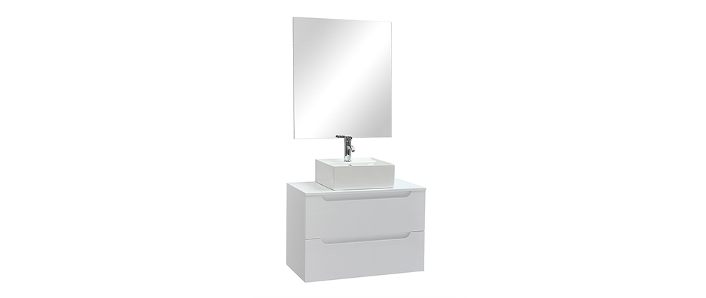Badezimmermöbel mit Waschbecken, Spiegel und Ablageflächen Weiß LOTA