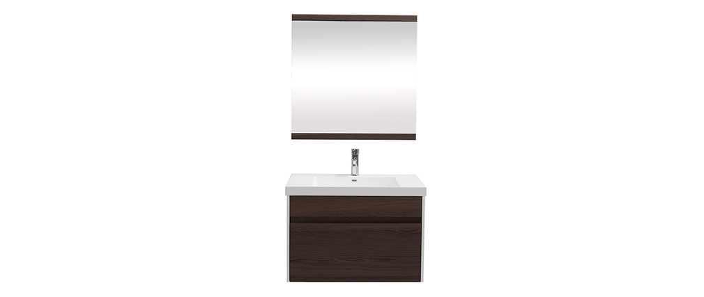 Badezimmermöbel mit Waschbecken, Spiegel und Ablageflächen Weiß und dunkles Holz GANFO