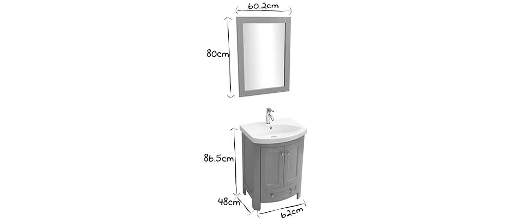 Badezimmermöbel mit Waschbecken und Ablageflächen Grau KLASI