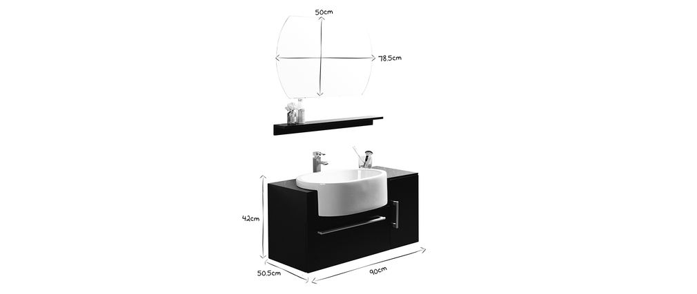 Badezimmermöbel Sullivan Schwarz: Waschbecken mit Waschkommode, Regal und Spiegel