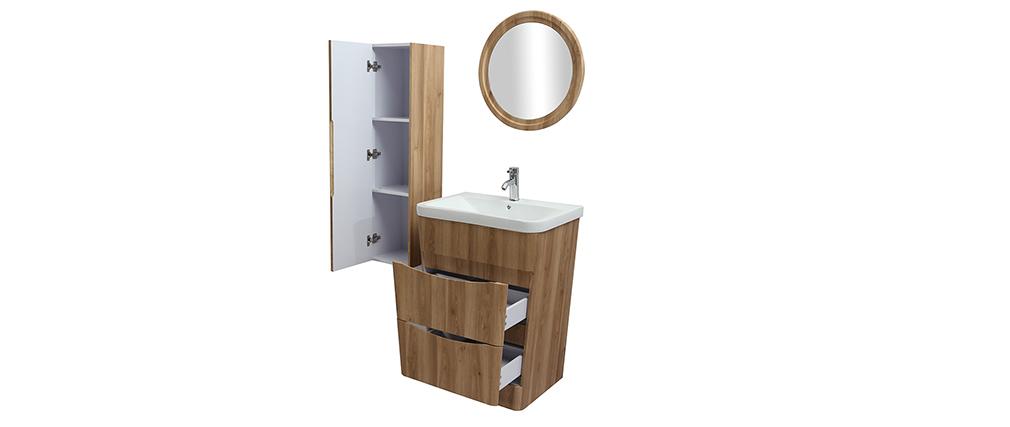 Badezimmermöbel und Säule Holz mit Waschbecken, Spiegel und Ablageflächen WILD