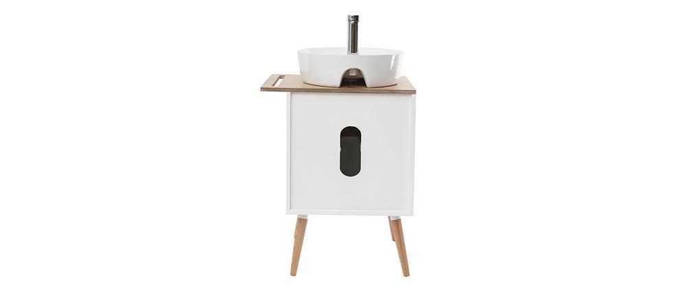 Badezimmermöbel: Waschbecken, Waschbeckenkommode mit Tür aus heller Eiche und weiß TOTEM