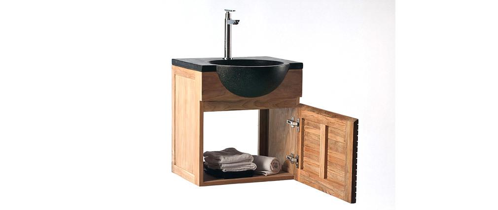 Badezimmermöbel: Waschtisch Teakholz und Waschbecken Terazzo ISAK