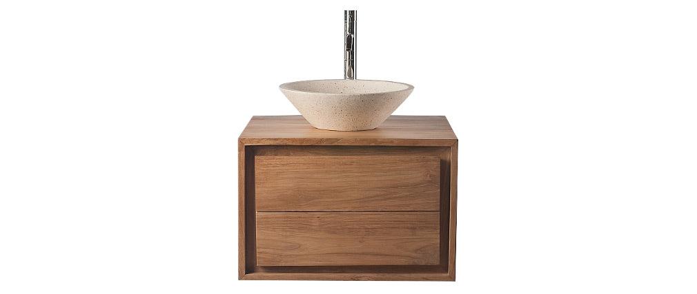 Badezimmermöbel: Waschtisch Teakholz und Waschbecken Terazzo PEKKA