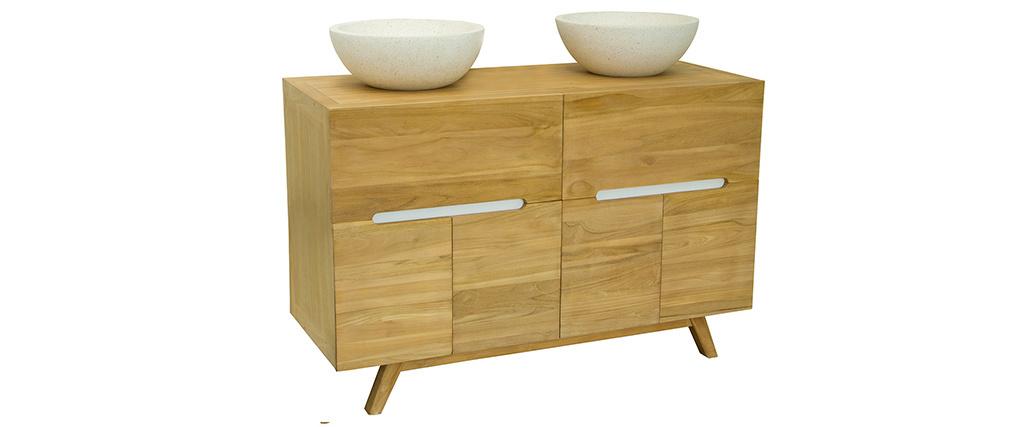 Badmöbel 2 Waschbecken aus Teakholz CALAM