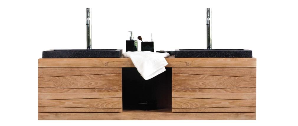 Badmöbel 2 Waschbecken hängend Teakholz ANKO