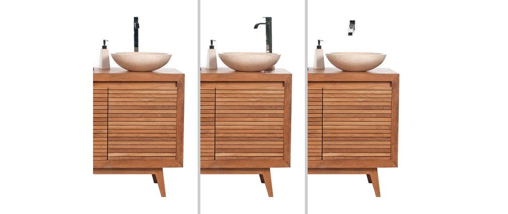Badmöbel 2 Waschbecken Weiß Teakholz ANO