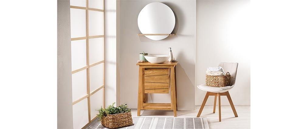 Badmöbel: Waschtisch aus Teakholz und Waschbecken aus Terrazzo ALIOH